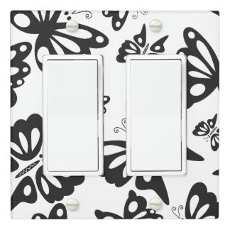 Butterfly Pattern - Black and White Light Switch Cover