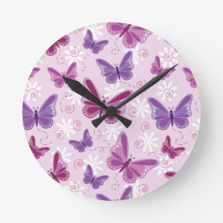 butterfly pattern round wall clock