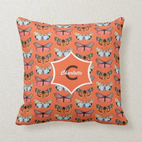 Butterfly Pattern Elegant Monogrammed Throw Pillow