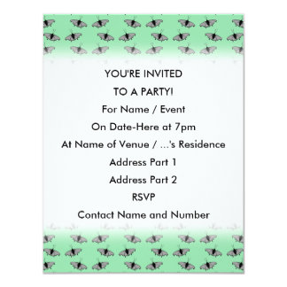 Butterfly Pattern. Green. 4.25x5.5 Paper Invitation Card