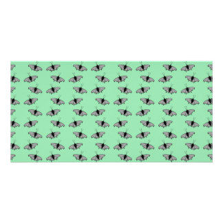 Butterfly Pattern. Green. Photo Card Template
