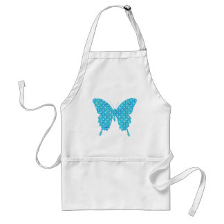 Butterfly, pattern in blue, turquoise, white adult apron