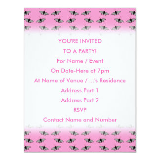 Butterfly Pattern on Pink. 4.25x5.5 Paper Invitation Card