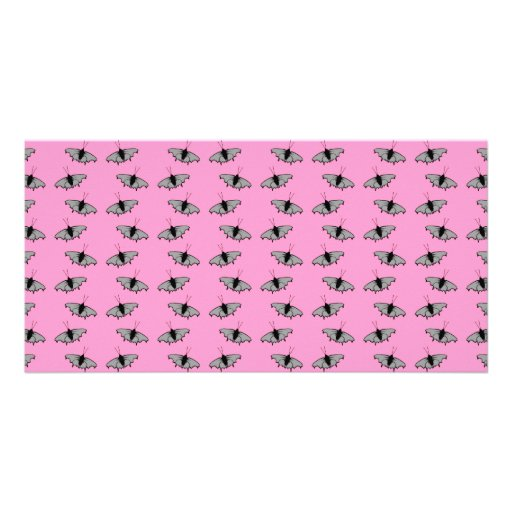 Butterfly Pattern on Pink. Photo Cards