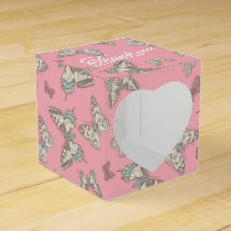 Butterfly pattern pink thank you wedding favor box
