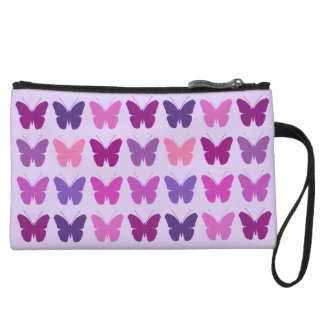 Butterfly Pattern Pinks Purples Mauves Wristlet Wallet