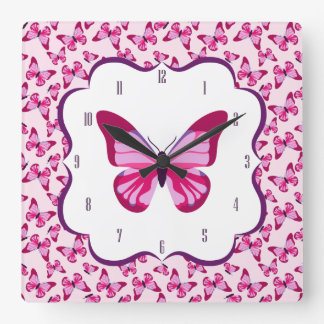 Butterfly Pattern Pretty Pink Purple Square Wall Clock