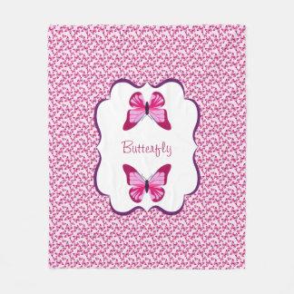 Butterfly Pattern Pretty Pink Purple Fleece Blanket