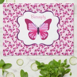 Butterfly Pattern Pretty Pink Purple Kitchen Towel