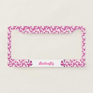 Hot Pink Hibiscus On Black License Plate Frame Gift Polished Metal