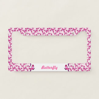 Butterfly Pattern Pretty Pink Purple Personalized License Plate Frame