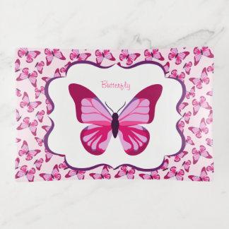 Butterfly Pattern Pretty Pink Purple Trinket Trays
