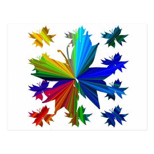 Butterfly Pattern Rainbow Postcard