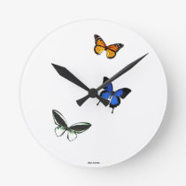 Butterfly Pattern Round Clock