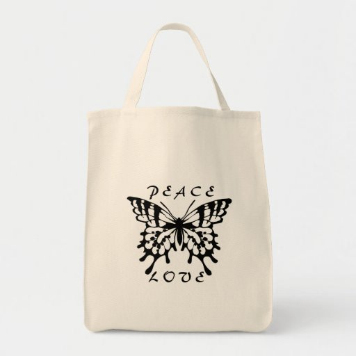 Butterfly Peace Love  Design Tote Bag