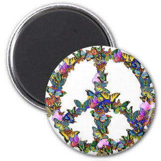 Butterfly Peace Symbol 2 Inch Round Magnet