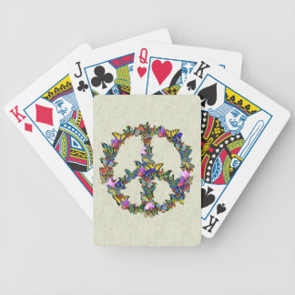 Butterfly Peace Symbol Bicycle Playing Cards