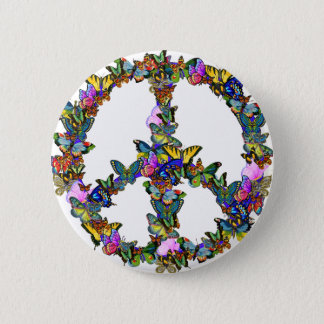 Butterfly Peace Symbol Button