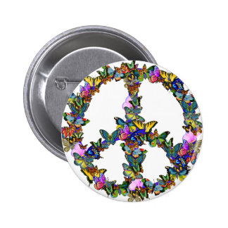 Butterfly Peace Symbol 2 Inch Round Button