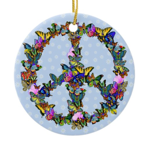 Butterfly Peace Symbol Ceramic Ornament