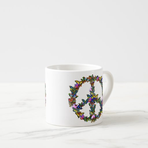 Butterfly Peace Symbol Espresso Cup