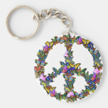 Butterfly Peace Symbol Keychain