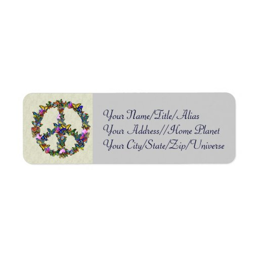 Butterfly Peace Symbol Custom Return Address Labels