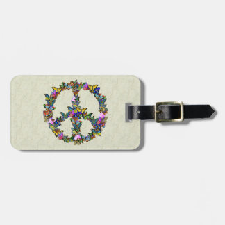 Butterfly Peace Symbol Travel Bag Tags