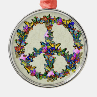 Butterfly Peace Symbol Metal Ornament