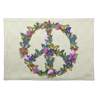 Butterfly Peace Symbol Cloth Placemat