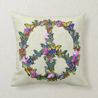 Butterfly Peace Symbol Throw Pillow