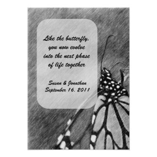 Butterfly Pencil Art Personalized Wedding Poster