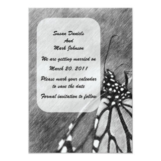 "Butterfly Pencil Art Wedding Save The Date 5"" X 7"" Invitation Card"