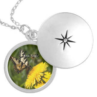 Butterfly Perch; Customizable Round Locket Necklace
