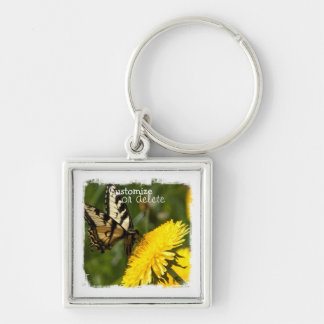 Butterfly Perch; Customizable Silver-Colored Square Keychain