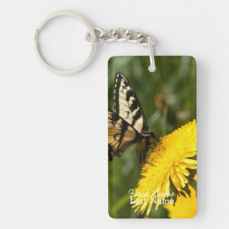Butterfly Perch; Customizable Single-Sided Rectangular Acrylic Keychain