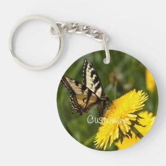 Butterfly Perch; Customizable Single-Sided Round Acrylic Keychain