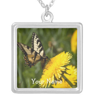 Butterfly Perch; Customizable Square Pendant Necklace