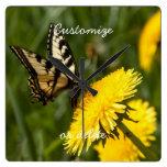Butterfly Perch; Customizable Square Wallclock
