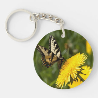 Butterfly Perch Single-Sided Round Acrylic Keychain
