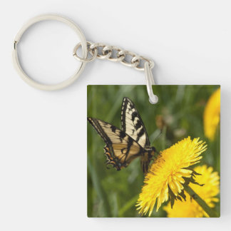 Butterfly Perch Single-Sided Square Acrylic Keychain