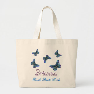 Butterfly Personalized Name Bride Large Tote Bag