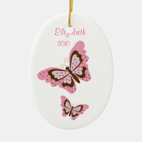BUTTERFLY Personalized Name Christmas Ornament