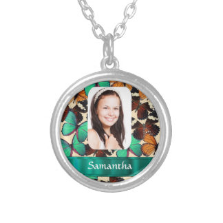 Butterfly personalized photo template round pendant necklace