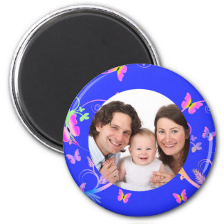 Butterfly/Photo 2 Inch Round Magnet