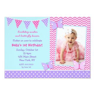 Butterfly Photo Birthday Invitations