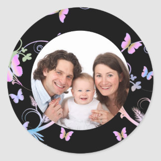 Butterfly/ Photo Classic Round Sticker