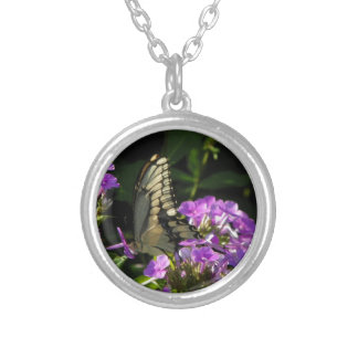 Butterfly Photo Gift Round Pendant Necklace