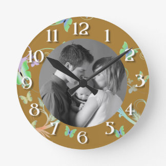 Butterfly/Photo Round Clock