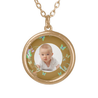 Butterfly/Photo Round Pendant Necklace